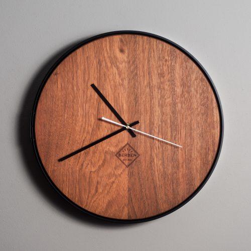 massief houten klok - jatoba - figuurloos - mat zwart