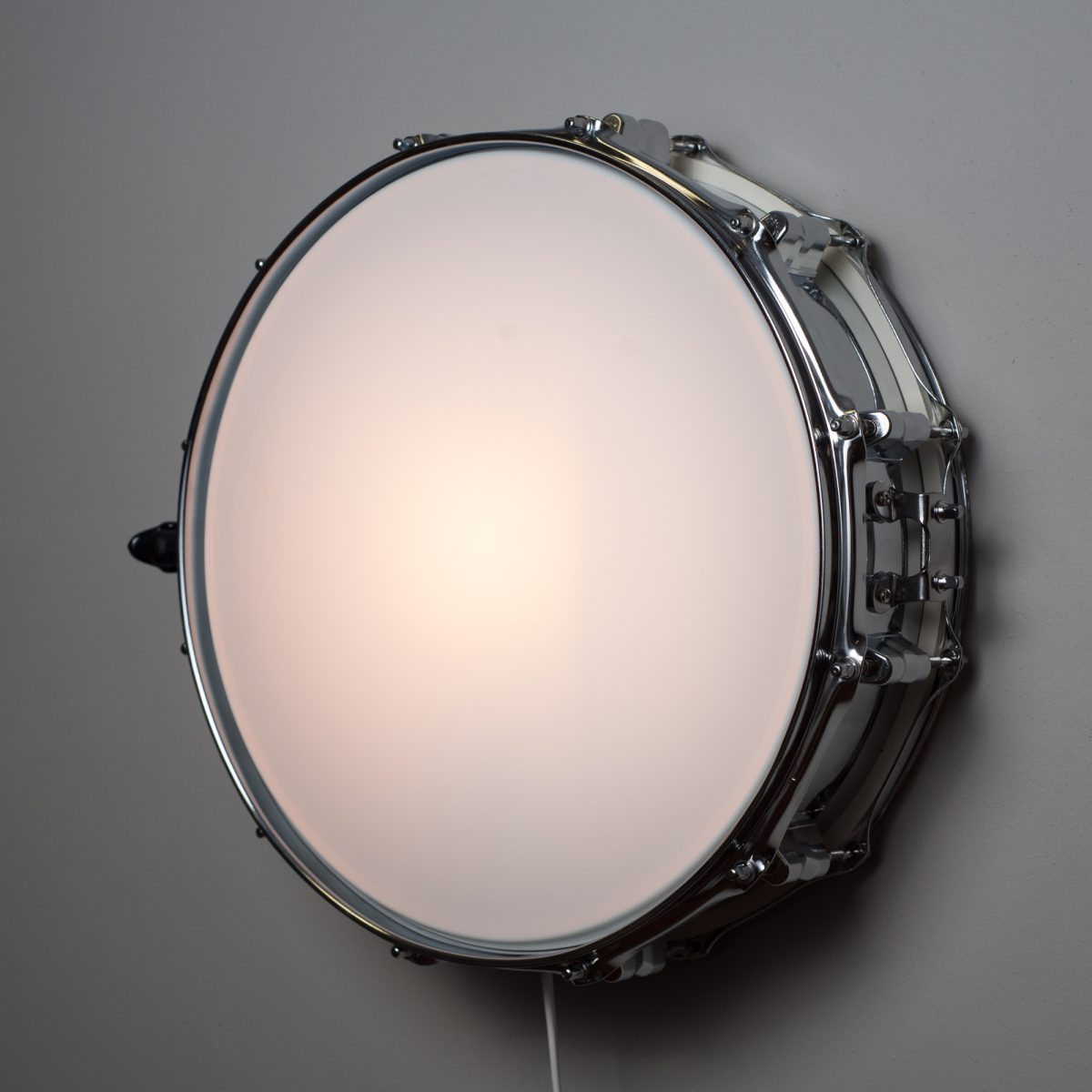 snare drum muur lamp - chroom